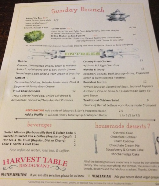 Harvest Table Sunday Brunch menu